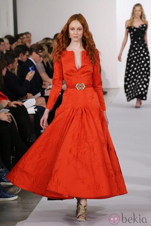 Vestido tangerine tango de la colección pre-fall 2013 de Oscar de la Renta