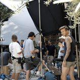 David Beckham durante la grabación del spot de su colección Bodywear at H&M