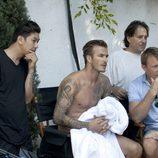 David Beckham en un momento del rodaje del spot de su colección Bodywear at H&M