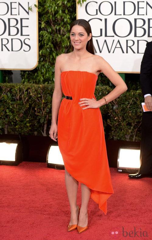 Marion Cotillard con un vestido de Dior en los Globos de Oro 2013