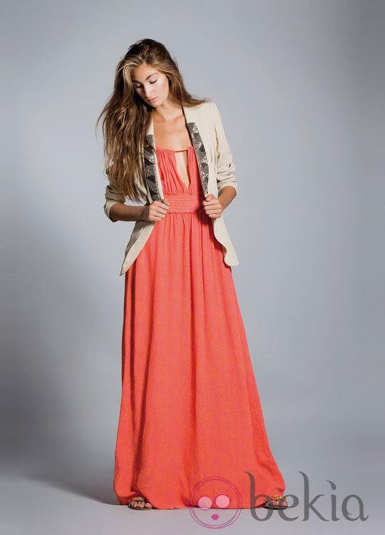 Vestido largo flores con chaqueta