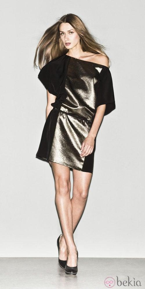 Vestido metalizado de la colección primavera/verano 2013 de Sisley