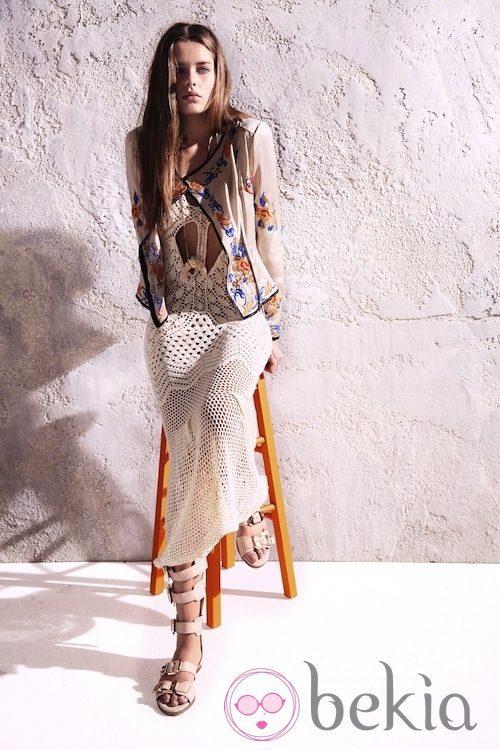 Vestido blanco de ganchillo de la colección primavera/verano 2013 de River Island
