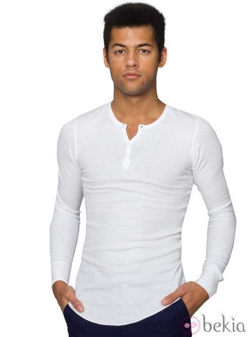 Camiseta blanca con botones para hombre de American Apparel