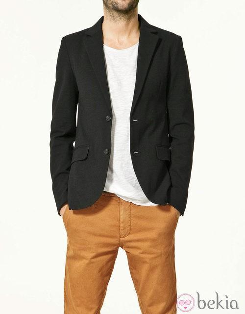 Americana negra de felpa para hombre de Zara