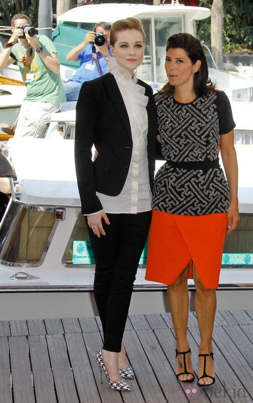 Evan Rachel Wood de Dolce & Gabbana y Marisa Tomei de Preen en el Festival de Venecia