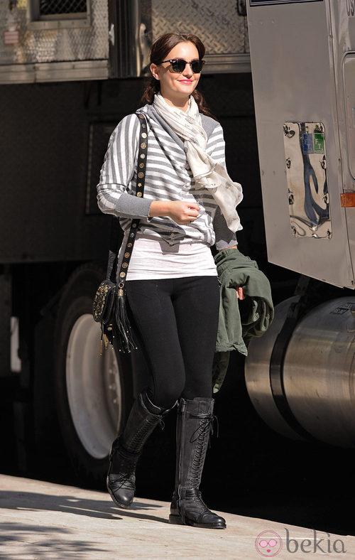 Leighton Meester en el set de 'Gossip Girl'