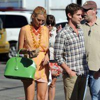 Blake Lively con vestido de Mike Gonzalez en el rodaje de 'Gossip girl'