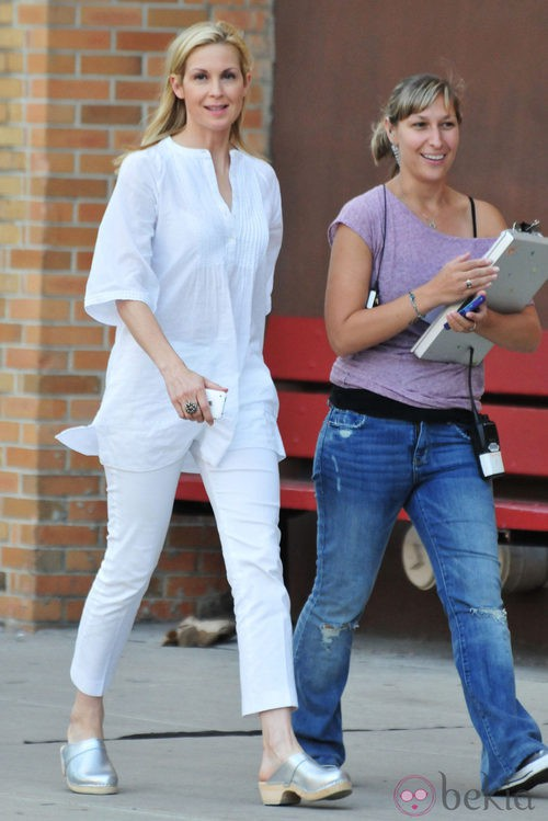Kelly Rutherford en el rodaje de 'Gossip Girl'