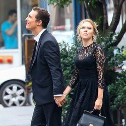 Scarlett Johannson y Matthew McConaughey en el rodaje de un spot en Nueva York