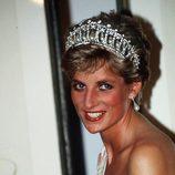 La Princesa Diana de Gales con tiara