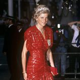 Diana de Gales con un vestido largo de fiesta