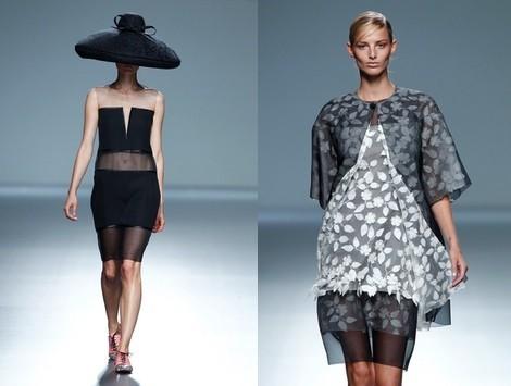 Outfit gris perla y blanco de la colección primavera/verano 2014 de Victorio & Lucchino en Madrid Fashion Week