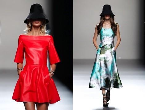 Vestido de cuero rojo de la colección primavera/verano 2014 de Juanjo Oliva en Madrid Fashion Week