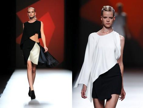 Look bicolor de la colección primavera/verano 2014 de AA de Amaya Arzuaga en Madrid Fashion Week