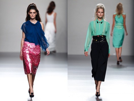 Blusa verde de la colección primavera/verano 2014 de Miguel Palacio en Madrid Fashion Week