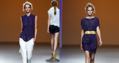 Vestido morado con transparencias de la colección primavera/verano 2014 de Sara Coleman en Madrid Fashion Week