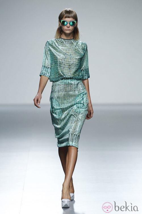 Vestido verde de la colección primavera/verano 2014 de Martin Lamothe en Madrid Fashion Week