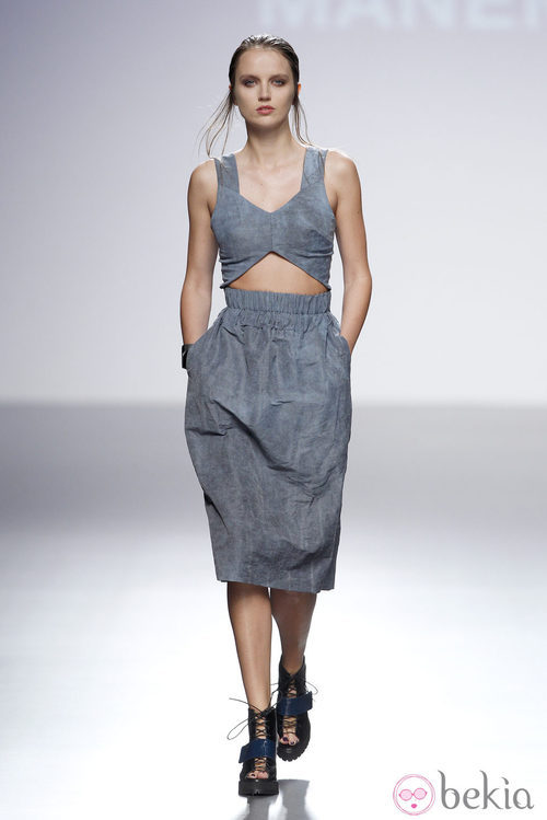 Crop top y falda de la colección primavera/verano 2014 de Manémané en la pasarela EGO Madrid Fashion Week