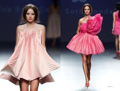Vestido rosa geométrico de la colección primavera/verano 2014 de Eva Soto Conde en el EGO Madrid Fashion Week