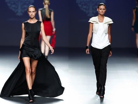 Vestido negro de la colección primavera/verano 2014 de Lorena Saravia en el EGO Madrid Fashion Week