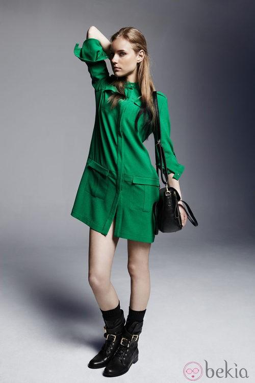 Vestido verde de la colección otoño/invierno 2013/2014 de Adolfo Domínguez
