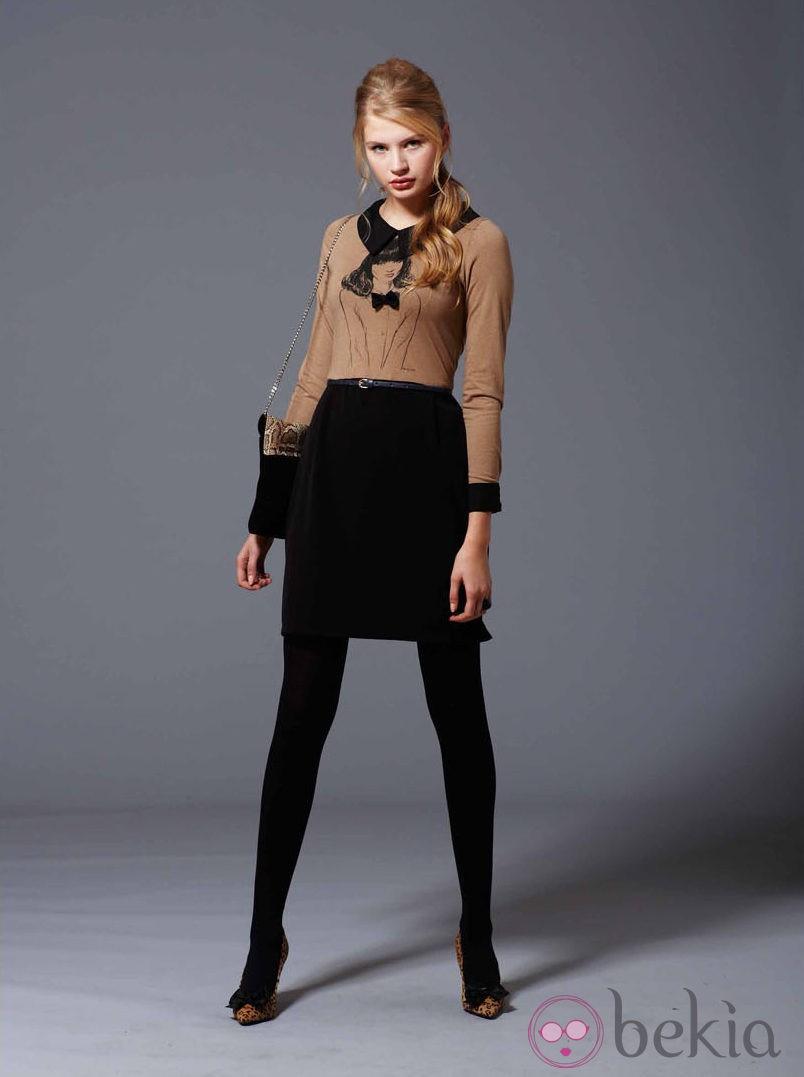 da8ff4d84 Camiseta marrón y falda de la colección otoño/invierno 2013/2014 de ...