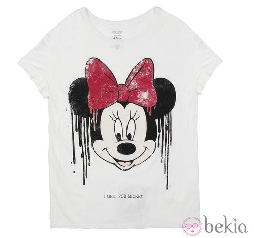Camiseta de algodón de la colección cápsula de Minnie y Mickey de Bershka