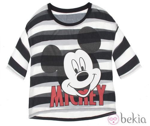 Camiseta de rayas de la colección cápsula de Minnie y Mickey de Bershka