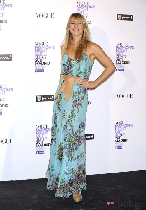 Raquel Meroño con estampado floral en la Vogue Fashion's Night Out 2011