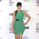 Lucía Ramos con vestido verde en la Vogue Fashion's Night Out 2011