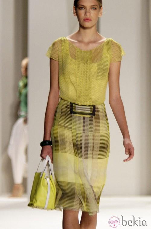Vestido verde de Carolina Herrera, colección primavera 2012