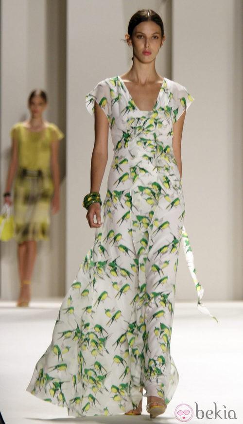 Estampado de pájaros de Carolina Herrera, colección primavera 2012