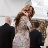 Beyoncé con el vestido roto en la Mercedes-Benz Fashion Week