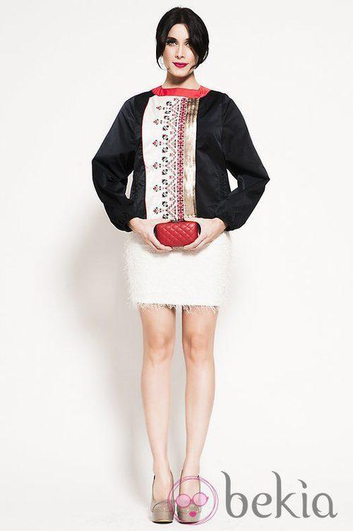 Pilar Rubio con chaqueta de Rosalita Mcgee y falda de Cayro