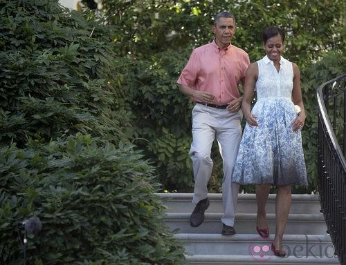 Michelle Obama con un vestido estampado línea A en la celebración del 4 de julio