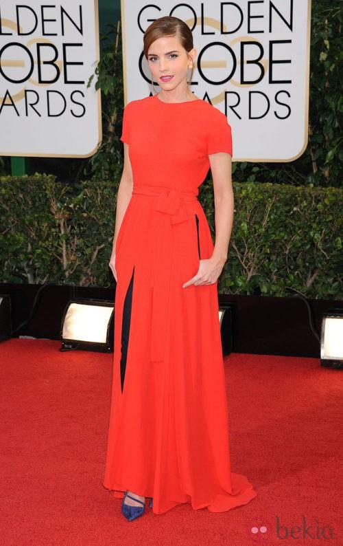 Emma Watson con un vestido de Dior en la alfombra roja de los Globos de Oro 2014