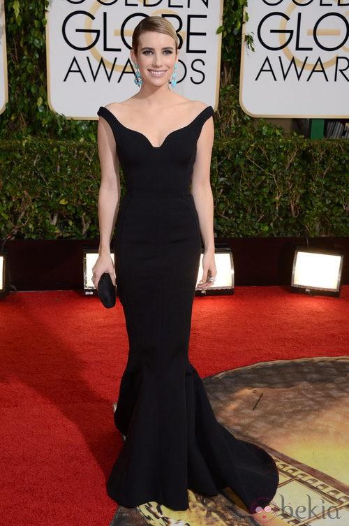 Emma Roberts con un vestido de Lanvin en la alfombra roja de los Globos de Oro 2014