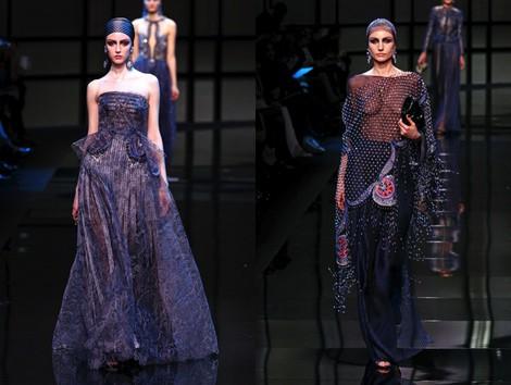 Vestido metalizado de la colección primavera/verano 2014 Alta Costura de Giorgio Armani Privé en la Semana de la Moda de París