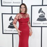 Gloria Stefan con un vestido de Gustavo Cadile en la alfombra roja de los Premios Grammy 2014