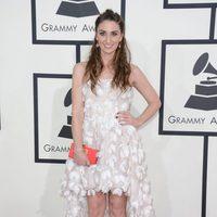 Sara Bareilles con un vestido de Blumarine en la alfombra roja de los Premios Grammy 2014