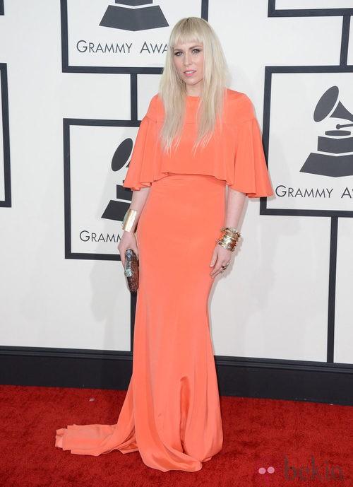 Natasha Bedingfield con un vestido de Christian Siriano en la alfombra roja de los Premios Grammy 2014
