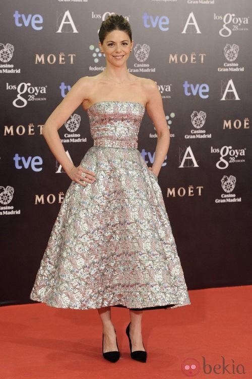 Manuela Velasco con un vestido de Dior en la alfombra roja de los Goya 2014