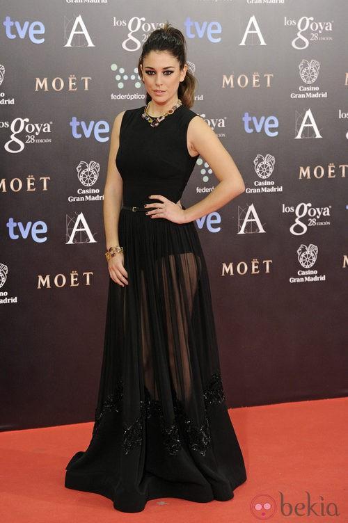 Blanca Suárez con un vestido de Elie Saab en la alfombra roja de los Goya 2014