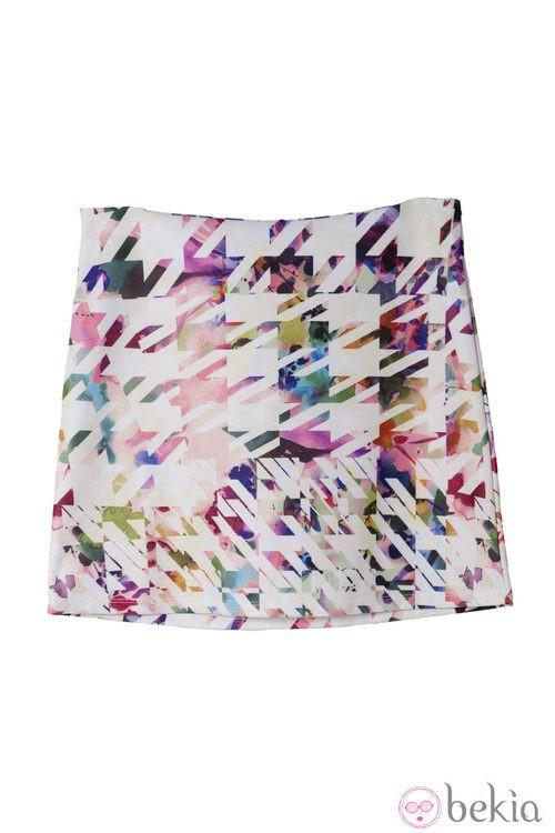 Mini falda con estampado de pata de gallo multicolor de Lavand