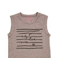 Camiseta con print de texto gris de la colección primavera/verano de Rachel Roy