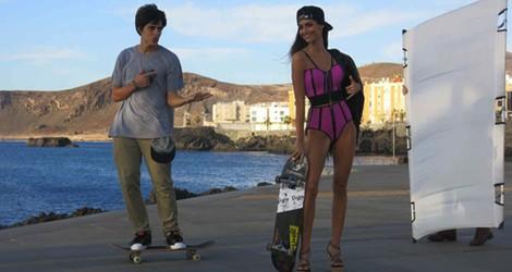Ariadne Artiles y Carlos Cardeñosa durante la realización de la campaña primavera/verano 2014 de Alpe Shoes