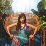 Vestido largo turquesa con estampado geométrico de la colección primavera/verano 2014 de Smash!