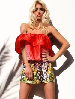 Conjunto top y minifalda de leopardo de a colección primavera/verano 2014 de Adriana Iglesias