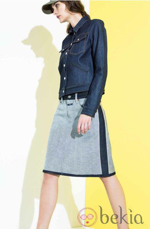 Conjunto falda y cazadora denim de la colección primavera/verano 2014 de Closed